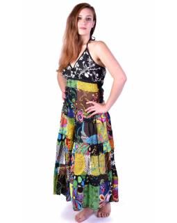 """Dlouhé patchworkové šaty """"Mix design"""", zavazování za krk"""