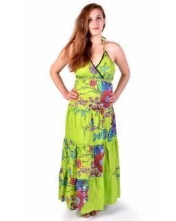 """Dlouhé zelené šaty """"Flower design"""", zavazování za krk"""