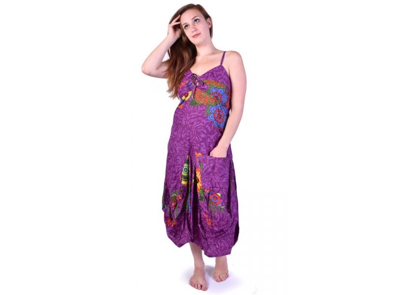 """Dlouhé fialové balonové šaty """"Flower design"""", ramínka, kapsy"""