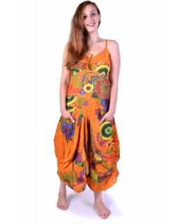 """Dlouhé oranžové balonové šaty """"Flower design"""", ramínka, kapsy"""