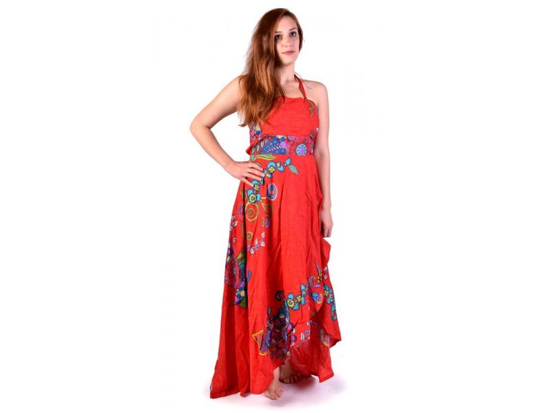 "Atypické zavinovací šaty ""Flower design"" na ramínka, červené"