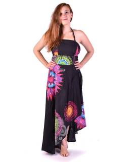 """Atypické zavinovací šaty """"Mandala design"""" na ramínka, černé"""
