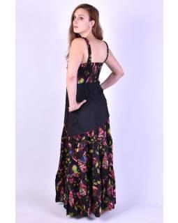 """Dlouhé černé šaty na ramínka, """"Butterfly design"""""""