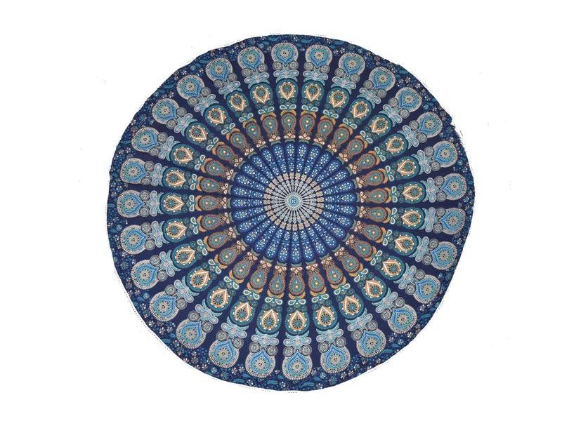 Bavlněný kulatý přehoz s mandalou, modrý, 190 cm