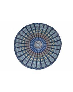Bavlněný kulatý přehoz s mandalou, modrý, 188 cm