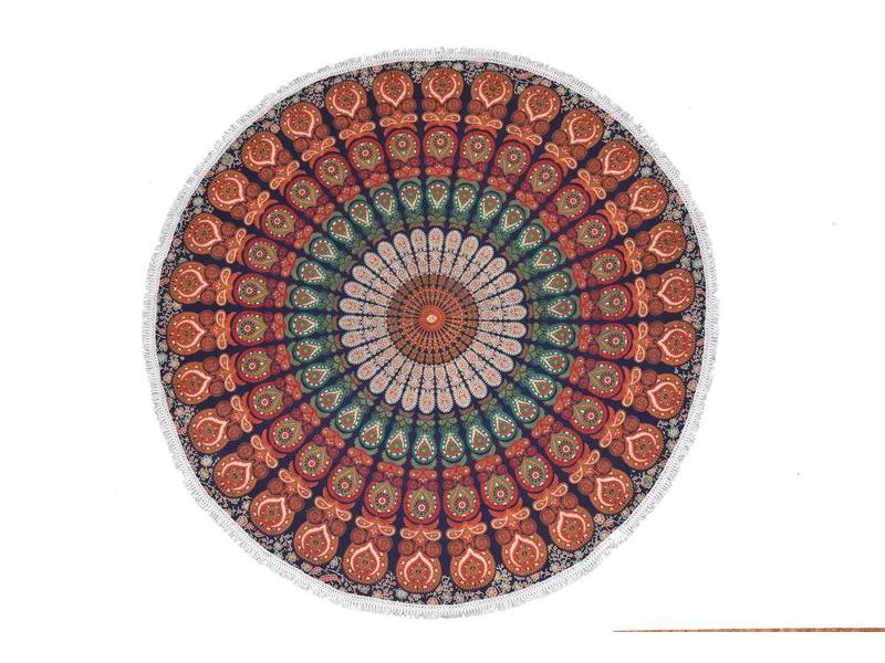 Bavlněný kulatý přehoz s mandalou, modro-oranžový, 190 cm