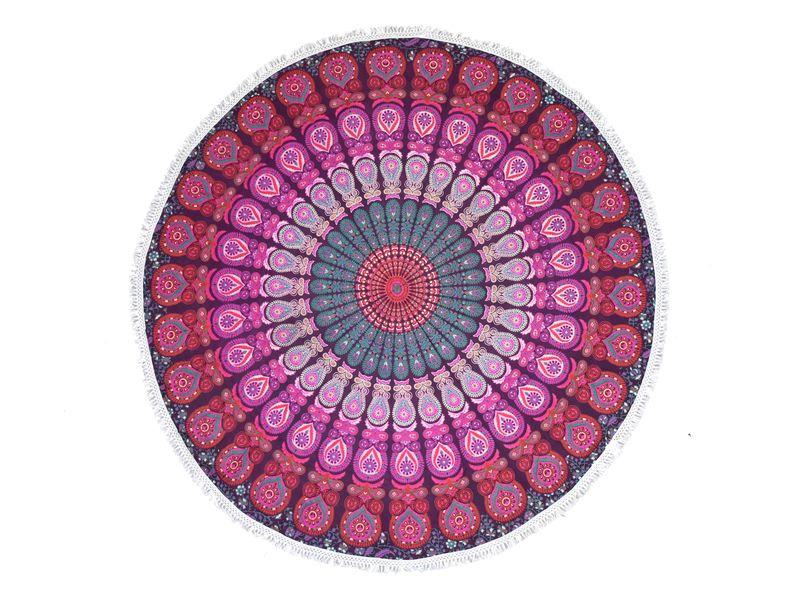 Bavlněný kulatý přehoz s mandalou, růžovo-zelený, 188 cm