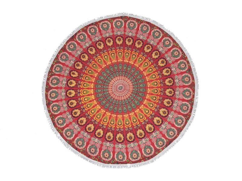 Bavlněný kulatý přehoz s mandalou, červeno-žlutý, 188 cm