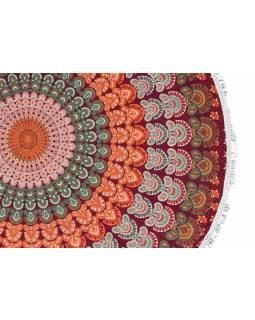 Bavlněný kulatý přehoz s mandalou, vínovo-oranžový, 190 cm