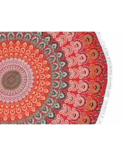 Bavlněný kulatý přehoz s mandalou, červeno-zelený, 190 cm