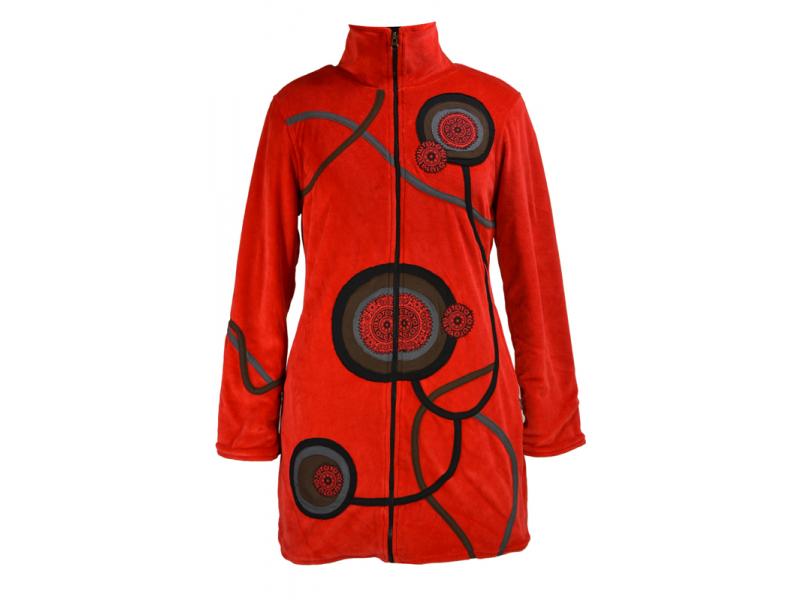 Sametový kabátek s kruhovými aplikacemi, červený, Chakra tisk, zapínání na zip,