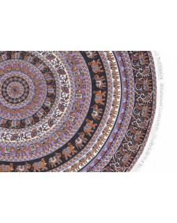 Bavlněný kulatý přehoz se sloní mandalou, fialovo-hnědý, 190 cm