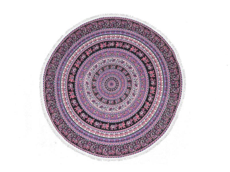 Bavlněný kulatý přehoz se sloní mandalou, růžovo-fialový, 190 cm