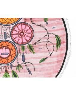 Bavlněný kulatý přehoz s lapačemi snů, vínový, 175 cm