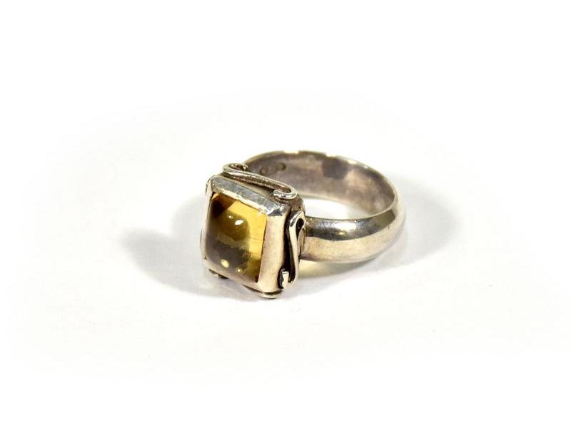 Stříbrný prsten vykládaný citrínem, vel.52, AG925, Nepál