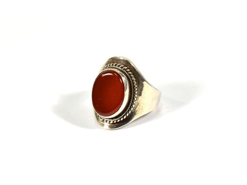 Stříbrný prsten vykládaný oranžovým onyxem, vel.53, AG925, Nepál
