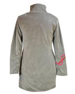 Sametový kabátek s kruhovými aplikacemi, šedý, Chakra tisk, zapínání na zip, kap