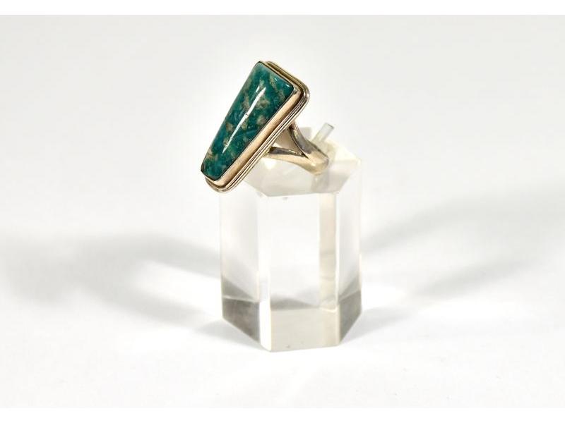 Stříbrný prsten vykládaný amazonitem, vel.59, AG925, Nepál