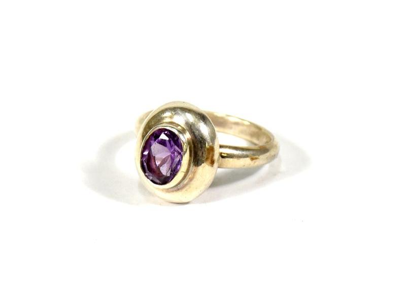 Stříbrný prsten vykládaný ametystem, vel.58, AG925, Nepál