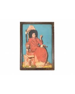 Starý tisk v rámu z Rajastanu, antik, Sai Baba