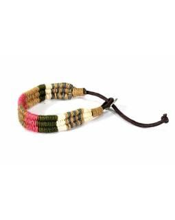 Pletený náramek z konopí v přírodních barvách, růžová-béžová-khaki