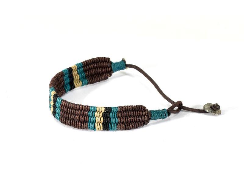 Pletený náramek z konopí v přírodních barvách, hnědá-tyrkysová