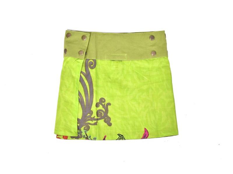 Dívčí sukně zapínaná na patentky, Flower design, zeleno-hnědá