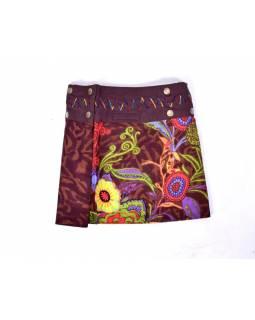 Dívčí sukně zapínaná na patentky, Flower design, hnědá