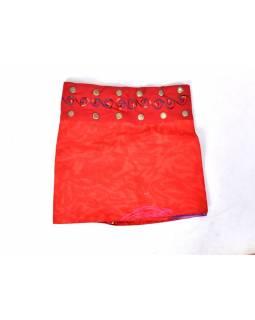 Dívčí sukně zapínaná na patentky, Mandala design, červená
