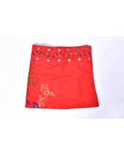Dívčí sukně zapínaná na patentky, Flower design, červená