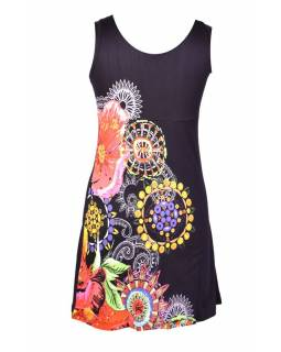 """Černé šaty bez rukávu """"Alyssa"""" s barevnými květinami"""