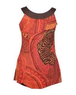 Červené mini šaty/top bez rukávu s barevným motivem