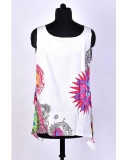 Krátké bílé šaty/top bez rukávu s barevným potiskem mandal