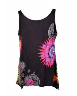 Krátké černé šaty/top bez rukávu s barevným potiskem mandal