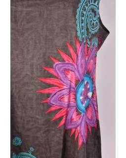 Krátké šedé šaty/top bez rukávu s barevným potiskem mandal