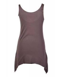 Krátké šedé šaty/top bez rukávu s barevnou aplikací
