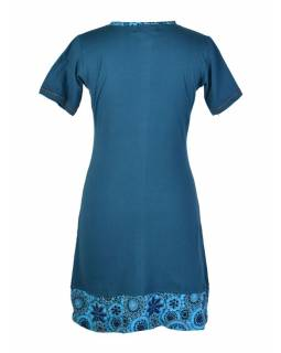Krátké petrolejové šaty s krátkým rukávem, potisk mandal a výšivka
