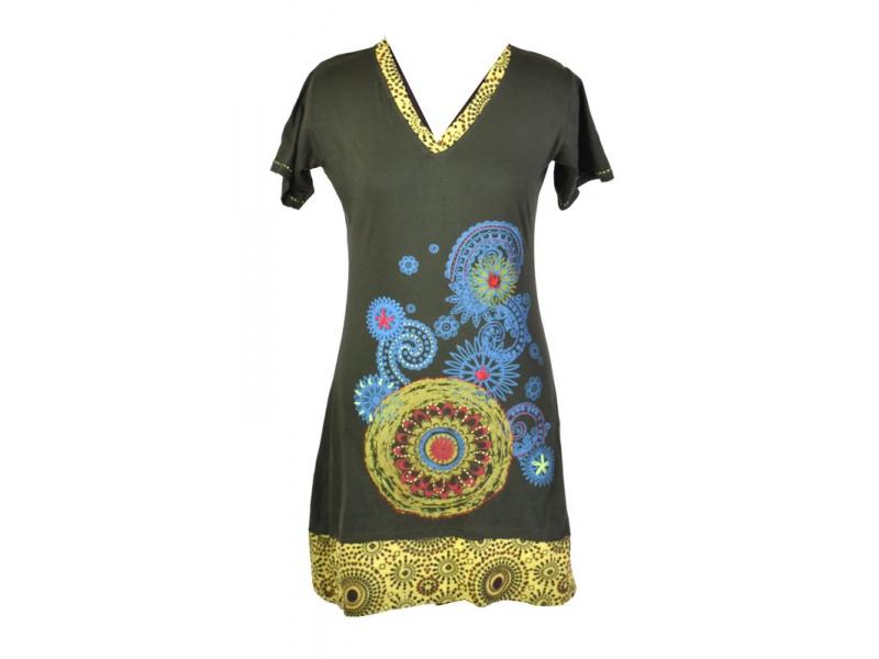 Krátké khaki šaty s krátkým rukávem, potisk mandal a výšivka