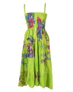 """Dlouhé zelené šaty naramínka """"Flower Mandala"""" žabičkování"""