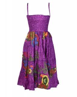 """Dlouhé fialové šaty naramínka """"Mandala"""" žabičkování"""