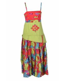"""Dlouhé červeno-zelené šaty na ramínka, """"Flower design"""""""