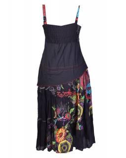 """Dlouhé černé šaty na ramínka, """"Mandala design"""""""