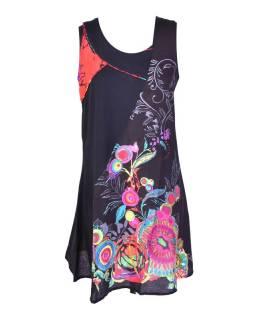 """Krátké černé šaty bez rukávu """"Flower mandala"""""""