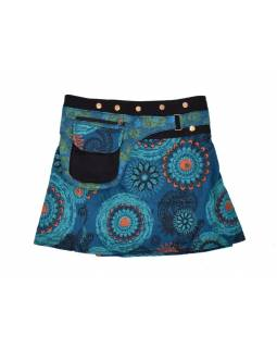 Krátká modrá sukně zapínaná na patentky, barevný mandala potisk, kapsa