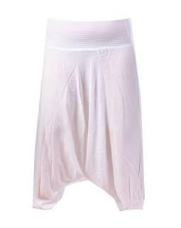 Dlouhé bílé turecké kalhoty, žabičkování