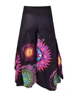 """Černé zvonové kalhoty s vysokým pasem, """"Mandala design"""""""