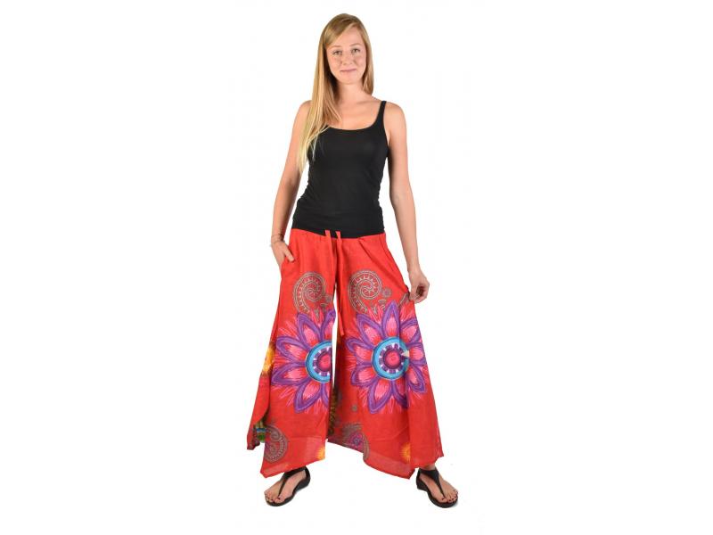 """Červené zvonové kalhoty s vysokým pasem, """"Mandala design"""""""
