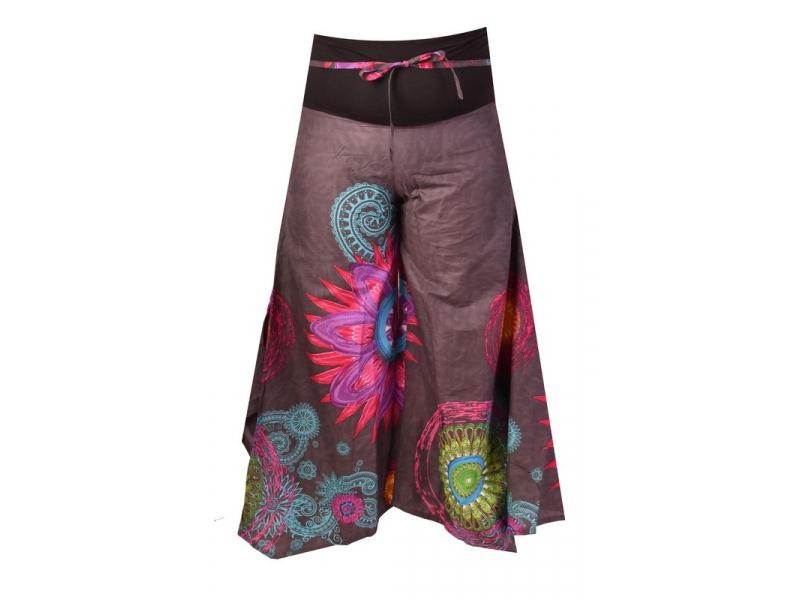 """Šedé zvonové kalhoty s vysokým pasem, """"Mandala design"""""""