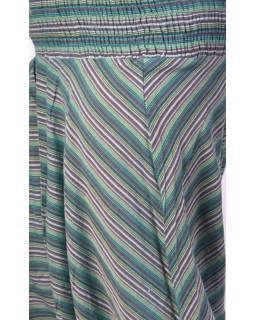 Zelené pruhované turecké kalhoty, žabičkování