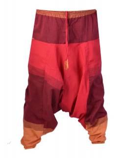 Červeno-oranžové turecké kalhoty s kapsami, elastický pas
